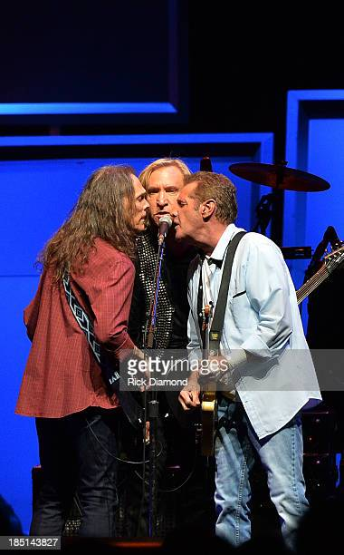 """Timothy B. Schmit, Joe Walsh and Glen Frey of the Eagles perform during """"History Of The Eagles Live In Concert"""" at the Bridgestone Arena on October..."""