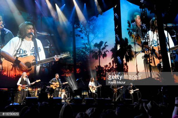 Timothy B Schmit Vince Gill Deacon Frey and Joe Walsh and Stuart Smith perform onstage with The Eagles during The Classic West at Dodger Stadium on...