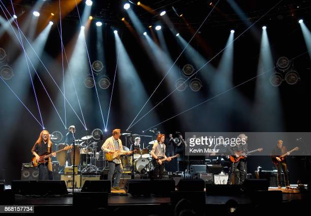Timothy B Schmit Vince Gill Don Henley Deacon Frey Joe Walsh and Steuart Smith of the Eagles perfom during SiriusXM presents the Eagles in their...