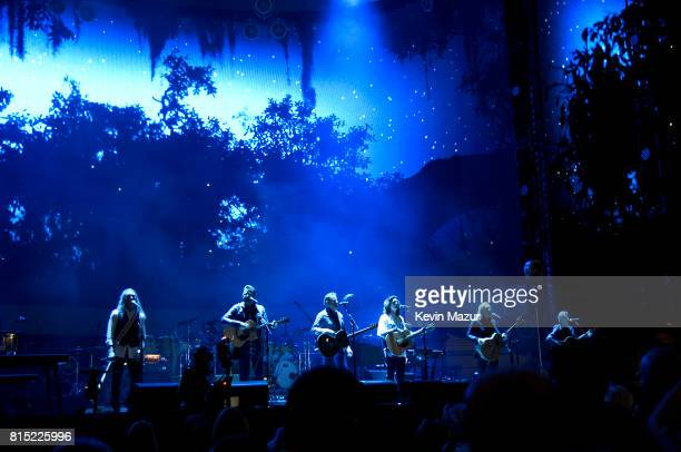Timothy B Schmit Vince Gill Don Henley Deacon Frey Joe Walsh and Stuart Smith perform onstage with The Eagles during The Classic West at Dodger...