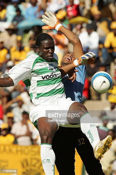 Timothy Batabaire and Itumeleng Khune during the Telkom Cup Semi Final match between Kaizer Chiefs and Bloemfontein Celtic held at Independence...