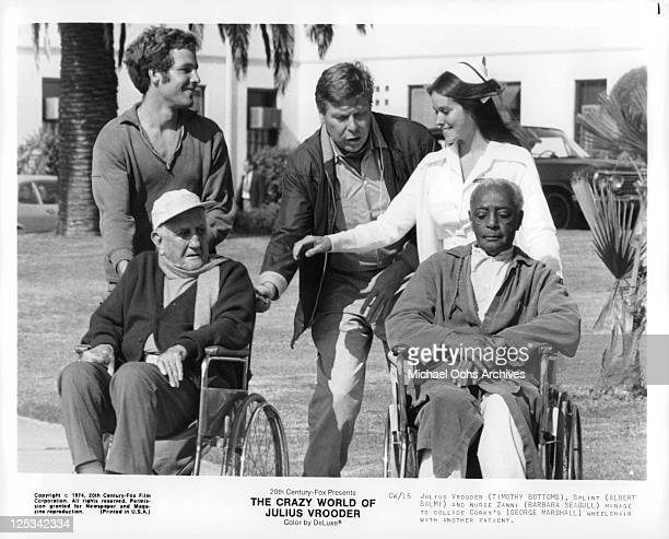 Timothy Bottoms Albert Salmi and Barbara Seagull manage to collide George Marshall's wheelchair with another patient in a scene from the film 'The...