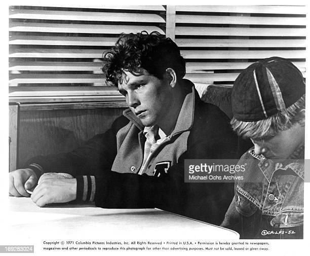 Timothy Bottoms at diner with retarded boy Sam Bottoms in a scene from the film 'The Last Picture Show' 1971