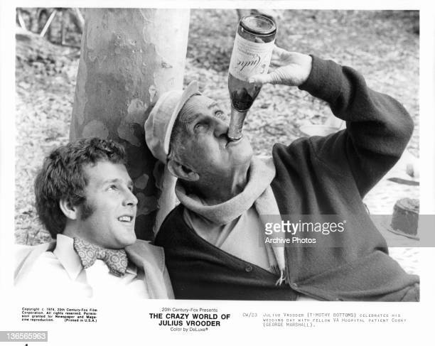 Timothy Bottoms celebrates his wedding day with George Marshall in a scene from the film 'The Crazy World Of Julius Vrooder' 1974