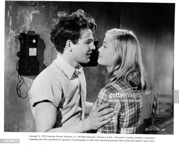 Timothy Bottoms is charmed by Cybill Shepherd in a scene from the film 'The Last Picture Show' 1971