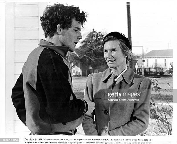 Timothy Bottoms reluctantly agrees to have a soda with his High School Coach's wife Cloris Leachman in a scene from the film 'The Last Picture Show'...
