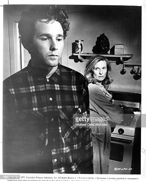 Timothy Bottoms with his back to Cloris Leachman in the kitchen in a scene from the film 'The Last Picture Show' 1971