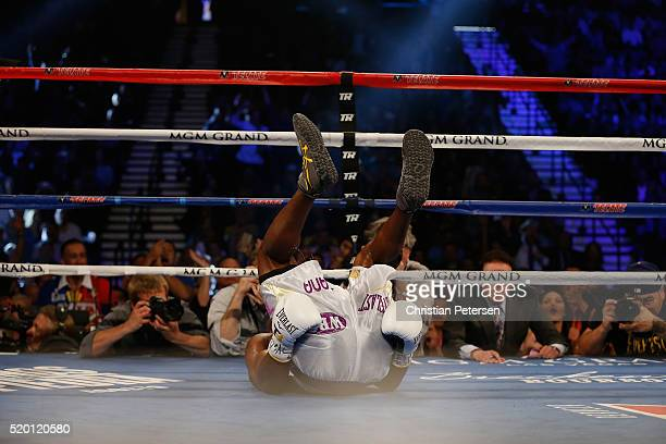 Timothy Bradley Jr. Gets knocked to the mat by Manny Pacquiao during their welterweight championship fight on April 9, 2016 at MGM Grand Garden Arena...
