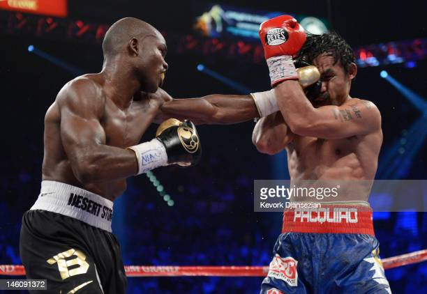 Timothy Bradley lands a left to the head of Manny Pacquiao during their WBO welterweight title fight at MGM Grand Garden Arena on June 9 2012 in Las...