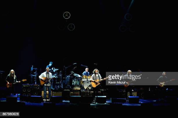 Timothy BSchmit Vince Gill Don Henley Deacon Frey Joe Walsh and Steuart Smith of the Eagles perform during SiriusXM presents the Eagles in their...