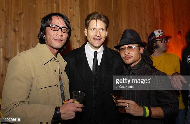 """Timothy Bui, Crispin Glover and Antoneus Maximus during 2005 Sundance Film Festival - """"Gen Art Party"""" at Empire Canyon Lodge in Park City, Utah,..."""