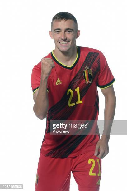 Timothy Castagne defender of Belgium pictured during a photo session presenting the new jersey of the Belgian National Football Team prior to the...