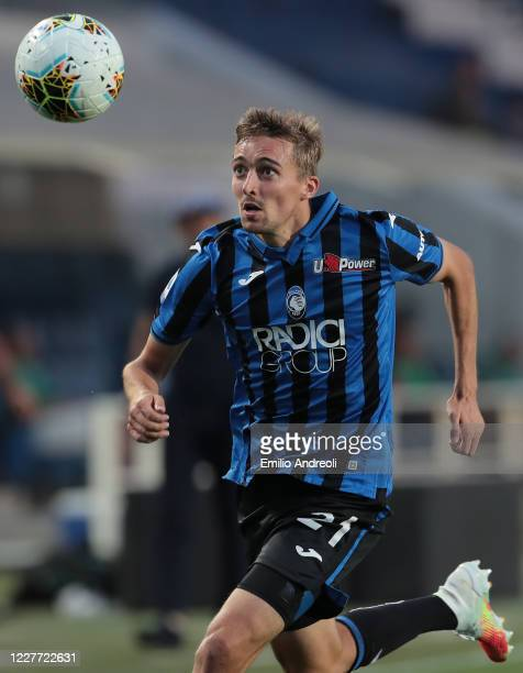 Timothy Castagne of Atalanta BC looks the ball during the Serie A match between Atalanta BC and Bologna FC at Gewiss Stadium on July 21 2020 in...