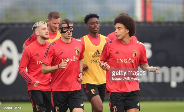 """Timothy Castagne of Belgium and Axel Witsel of Belgium during a training session of the Belgian national soccer team """" The Red Devils """" ahead of the..."""