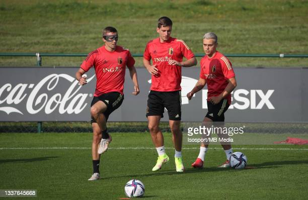 "Timothy Castagne of Belgium, Dennis Praet of Belgium and Leandro Trossard of Belgium during a training session of the Belgian national soccer team ""..."