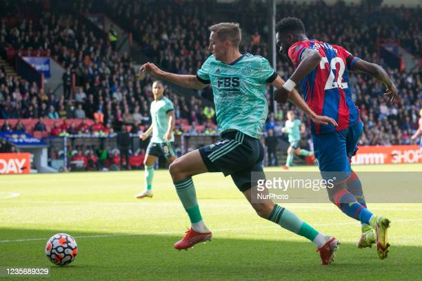 Timothy Castagne of Leicester and Odsonne Edouard of Crystal Palace battle for the ball during the Premier League match between Crystal Palace and...