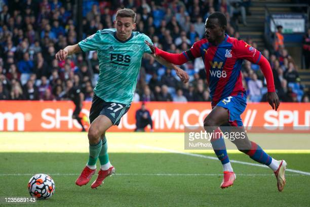 Timothy Castagne of Leicester and Tyrick Mitchell of Crystal Palace battle for the ball during the Premier League match between Crystal Palace and...