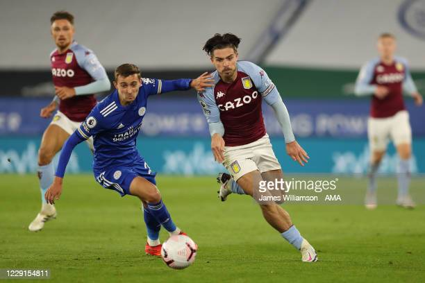 Timothy Castagne of Leicester City and Jack Grealish of Aston Villa during the Premier League match between Leicester City and Aston Villa at The...