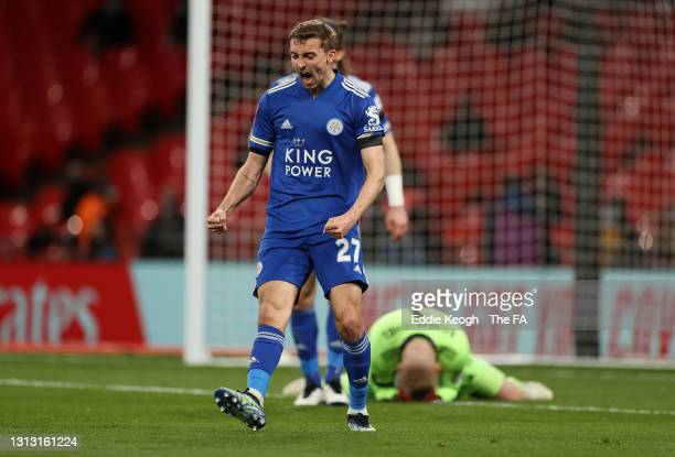 Timothy Castagne of Leicester City celebrates following his team's victory in the Semi Final of the Emirates FA Cup between Leicester City and...