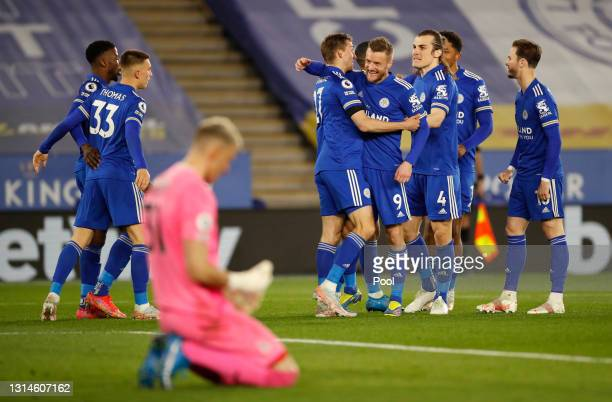 Timothy Castagne of Leicester City celebrates with Jamie Vardy, Caglar Soyuncu and James Maddison after scoring their team's first goal during the...