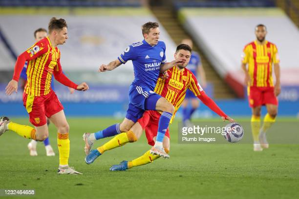 Timothy Castagne of Leicester City in action with Kieran Gibbs of West Bromwich Albion during the Premier League match between Leicester City and...