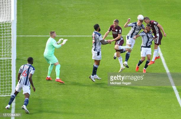 Timothy Castagne of Leicester City scores his team's first goal during the Premier League match between West Bromwich Albion and Leicester City at...