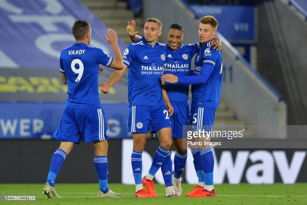 Timothy Castange of Leicester City celebrates scoring Leicesters second goal with Jamie Vardy of Leicester City Youri Tielemans of Leicester City and...