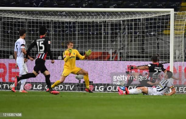 Timothy Chandler from Frankfurt scores his sides third goal during the Bundesliga match between Eintracht Frankfurt and Sport-Club Freiburg at...