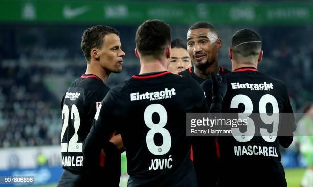Timothy Chandler Luka Jovic Makoto Hasebe KevinPrince Boateng and Omar Mascarell of Frankfurt celebrate their team's third goal during the Bundesliga...