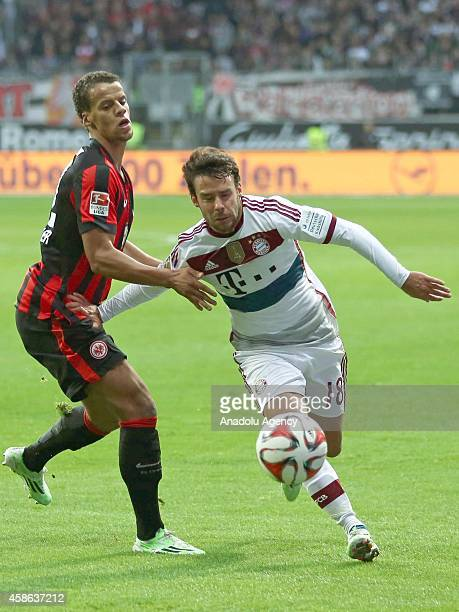 Timothy Chandler of Eintracht Frankfurt in action against Bernat of Bayern München during the Bundesliga soccer match between Eintracht Frankfurt and...