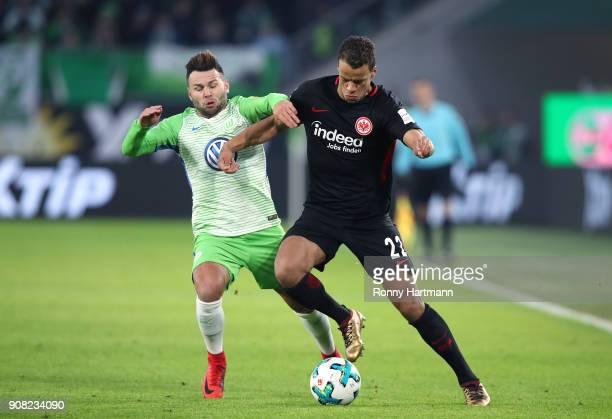 Timothy Chandler of Frankfurt and Renato Steffen of Wolfsburg vie during the Bundesliga match between VfL Wolfsburg and Eintracht Frankfurt at...