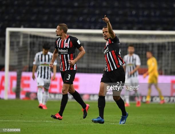 Timothy Chandler of Frankfurt celebrates after scoring his sides third goal during the Bundesliga match between Eintracht Frankfurt and Sport-Club...