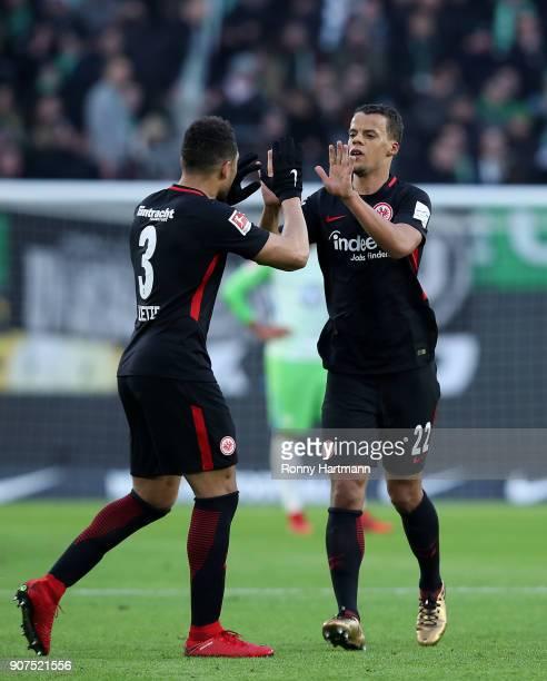 Timothy Chandler of Frankfurt celebrates after scoring his team's second goal with Simon Falette of Frankfurt during the Bundesliga match between VfL...