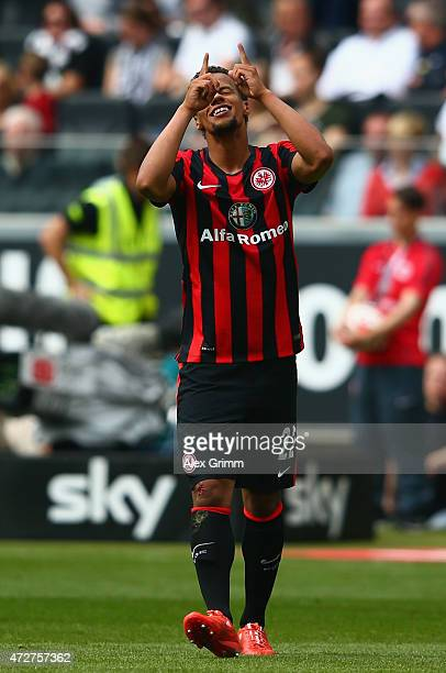 Timothy Chandler of Frankfurt celebrates her team's third goal during the Bundesliga match between Eintracht Frankfurt and 1899 Hoffenheim at...