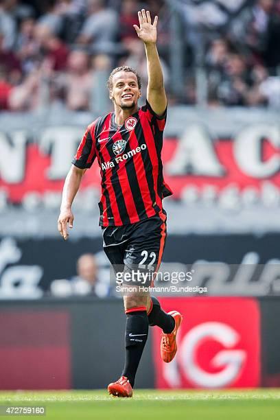 Timothy Chandler of Frankfurt celebrates his team's third goal during the Bundesliga match between Eintracht Frankfurt and 1899 Hoffenheim at...
