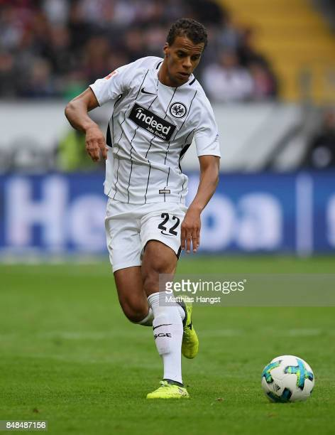 Timothy Chandler of Frankfurt controls the ball during the Bundesliga match between Eintracht Frankfurt and FC Augsburg at CommerzbankArena on...