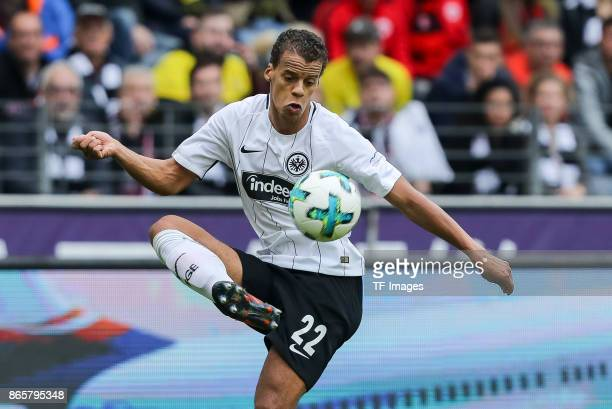 Timothy Chandler of Frankfurt controls the ball during the Bundesliga match between Eintracht Frankfurt and Borussia Dortmund at CommerzbankArena on...