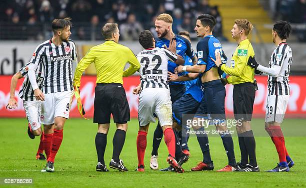Timothy Chandler of Frankfurt pushs Kevin Vogt of Hoffenheim during the Bundesliga match between Eintracht Frankfurt and TSG 1899 Hoffenheim at...
