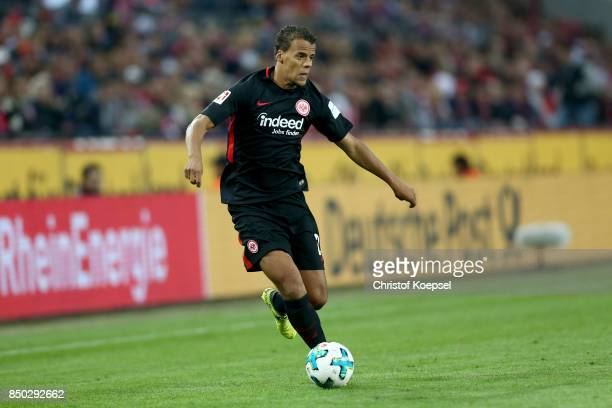 Timothy Chandler of Frankfurt runs with the ball during the Bundesliga match between 1 FC Koeln and Eintracht Frankfurt at RheinEnergieStadion on...