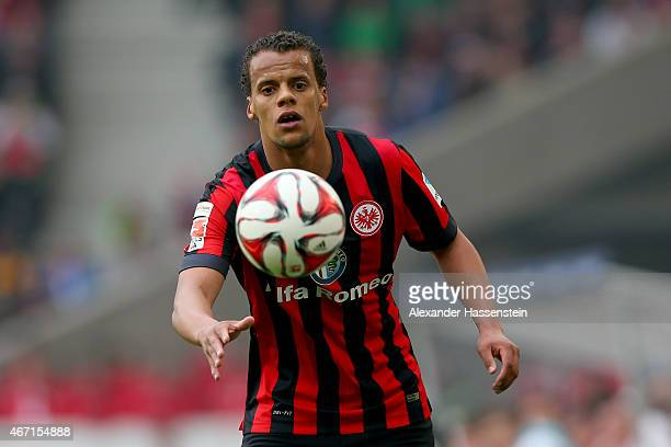 Timothy Chandler of Frankfurt runs witrh the ball during the Bundesliga match between VfB Stuttgart and Eintracht Frankfurt at MercedesBenz Arena on...