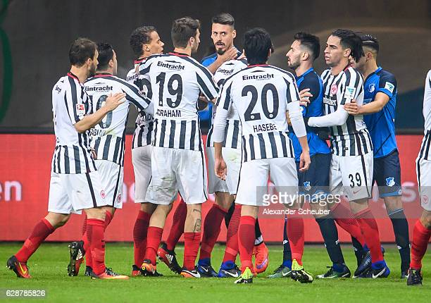 Timothy Chandler of Frankfurt strangles Sandro Wagner of Hoffenheim and gets the red card during the Bundesliga match between Eintracht Frankfurt and...