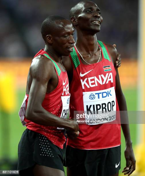 Timothy Cheruiyot and Asbel Kiprop of Kenya after the Men's 1500 metres final during day ten of the 16th IAAF World Athletics Championships London...