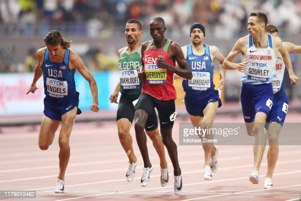 Timothy Cheruiyot of Kenya and Heat 1 competes in the Men's 1500 metres semi finals during day eight of 17th IAAF World Athletics Championships Doha...