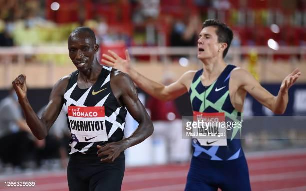 Timothy Cheruiyot of Kenya celebrates victory in the Men's 1500 metres during the Herculis EBS Monaco 2020 Diamond League meeting at Stade Louis II...