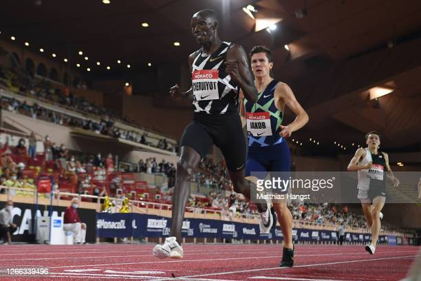 Timothy Cheruiyot of Kenya celebrates victory in the Men's 5000 metres during the Herculis EBS Monaco 2020 Diamond League meeting at Stade Louis II...
