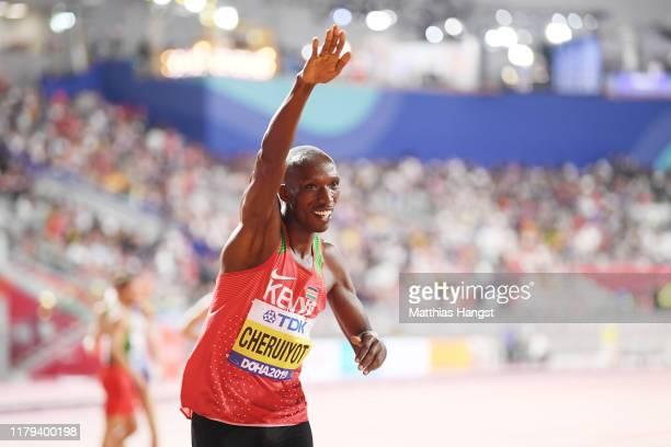 Timothy Cheruiyot of Kenya celebrates winning gold in the Men's 1500 metres final during day ten of 17th IAAF World Athletics Championships Doha 2019...