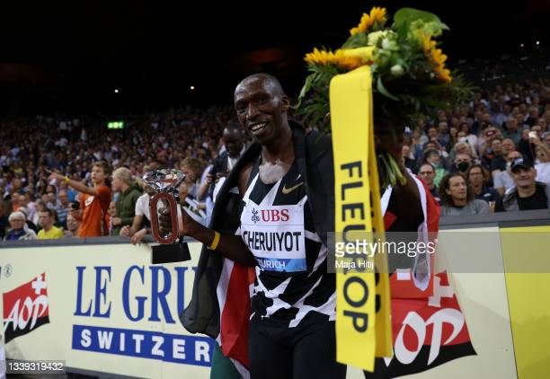 Timothy Cheruiyot of Kenya celebrates winning the Men's 1500m Final during the Weltklasse Zurich, part of the Wanda Diamond League at Stadium...