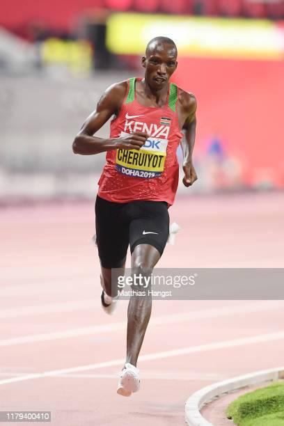 Timothy Cheruiyot of Kenya competes in the Men's 1500 metres final during day ten of 17th IAAF World Athletics Championships Doha 2019 at Khalifa...