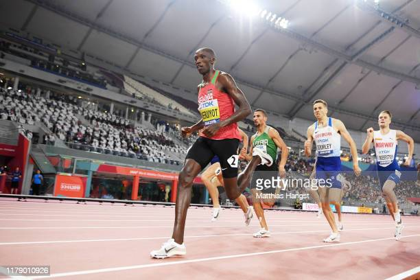 Timothy Cheruiyot of Kenya competes in the Men's 1500 metres semi finals during day eight of 17th IAAF World Athletics Championships Doha 2019 at...