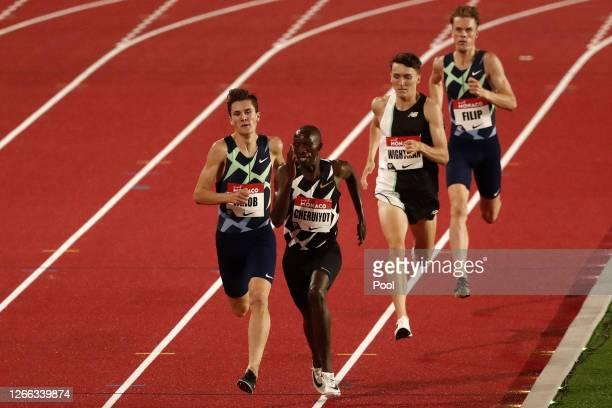 Timothy Cheruiyot of Kenya, Jakob Ingebrigtsen of Norway, Jake Wightman of Great Britain and Filip Ingebrigtsen of Norway compete in Men's 1500...